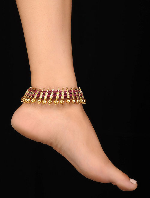 Red Gold Tone Silver Anklets (Set of 2)