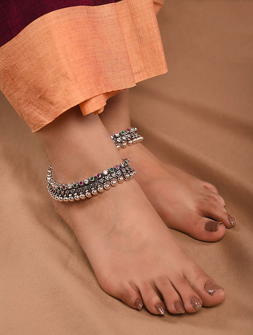 Maroon Green Tribal Silver Anklets (Set of 2)