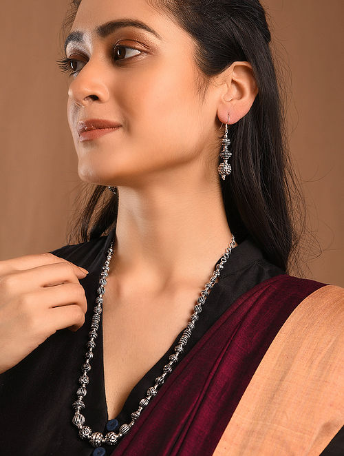 Tribal Silver Necklace with Earrings