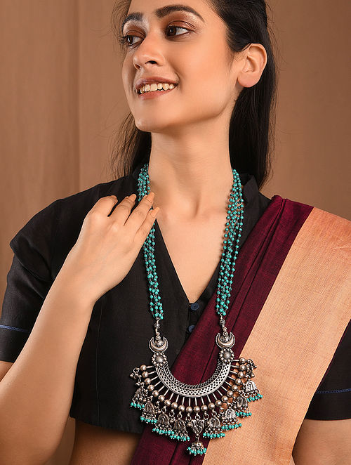 Tribal Silver Necklace with Turquoise