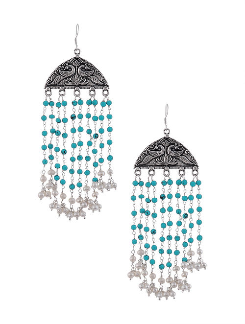 Tribal Silver Earrings with Pearls and Turquoise