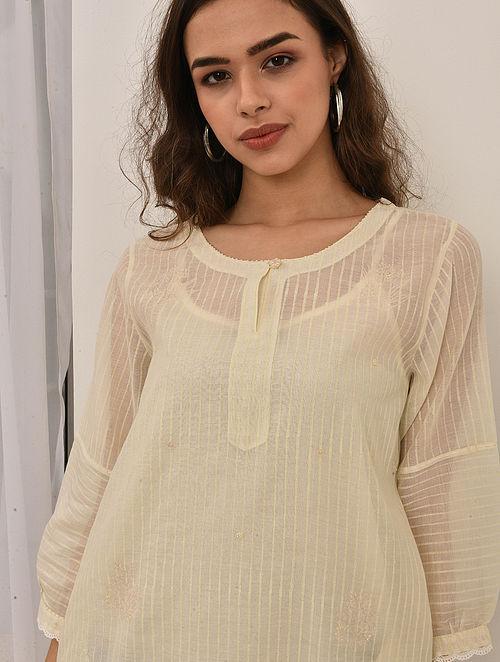 ARVA - Ivory Embroidered Silk Cotton Kurta with Khari and Lace (Set of 2)