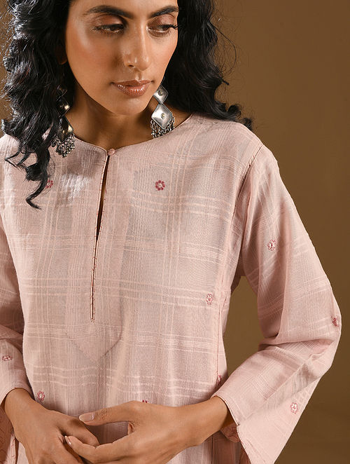 SURATI - Pink Embroidered Cotton Dobby Kurta with Dupatta