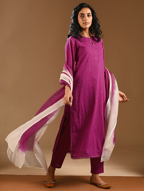 GULI - Pink Embroidered Cotton Dobby Kurta with Dupatta