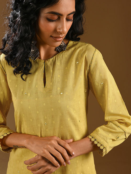 ZARD - Yellow Embroidered Cotton Dobby Kurta with Dupatta