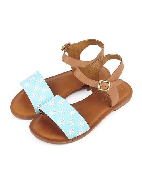 Buy Blue-White-Brown Chikankari Embroidered Leather Sandals ... 36775aa1a7