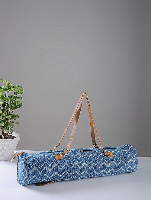Indigo Hand-printed Cotton Rug and Leather Yoga Matt Bag