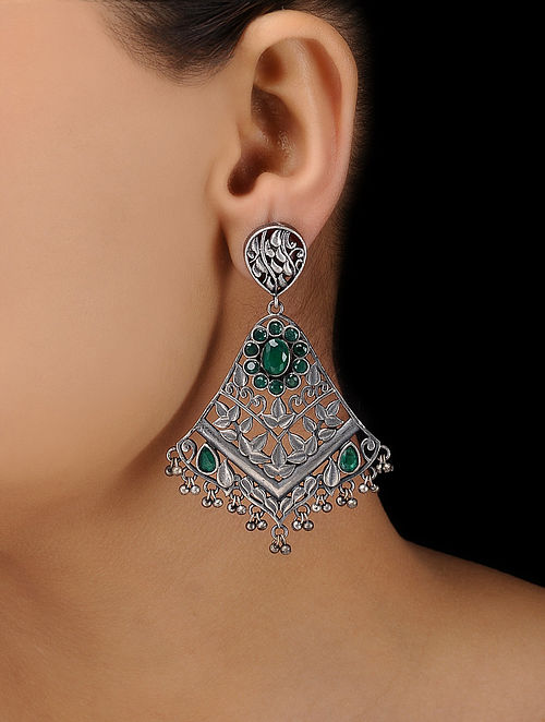 Green Silver Tone Brass Earrings
