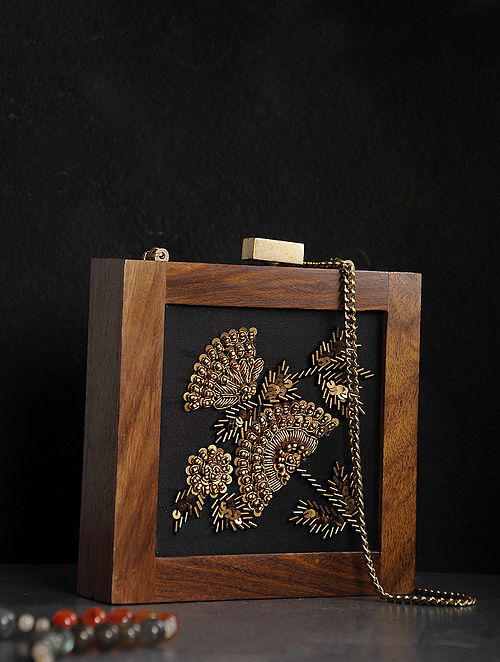 Buy Black Brown Embroidered Wooden Clutch Online At Jayporecom