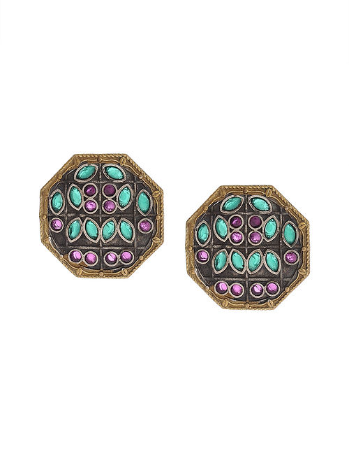 Pink-Green Dual Tone Handcrafted Brass Stud Earrings