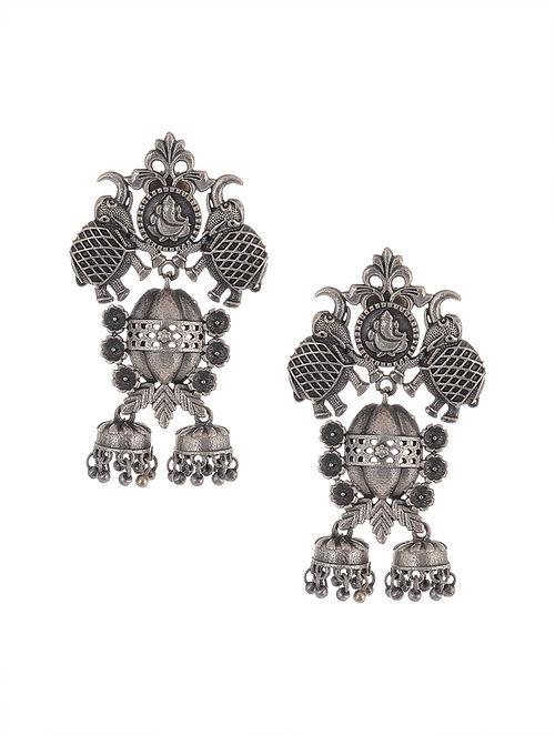 Tribal Silver Tone Brass Jhumki Earrings