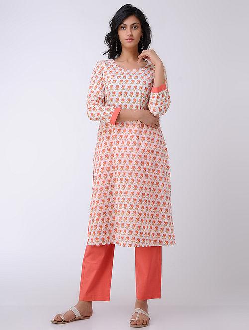 Ivory-Orange Block-printed Cambric Cotton Kurta
