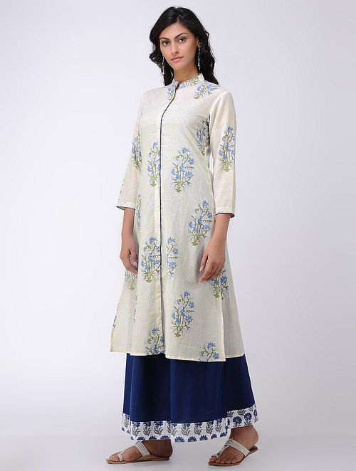 Ivory-Blue Block-printed Cambric Cotton Kurta
