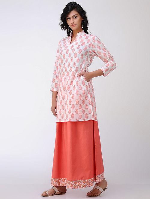 Ivory-Peach Block-printed Cambric Cotton Tunic