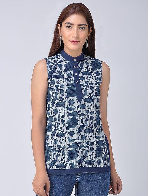 a5590c2e6e1f2 Buy Indigo-Ivory Bagru Printed Cotton Top Online at Jaypore.com
