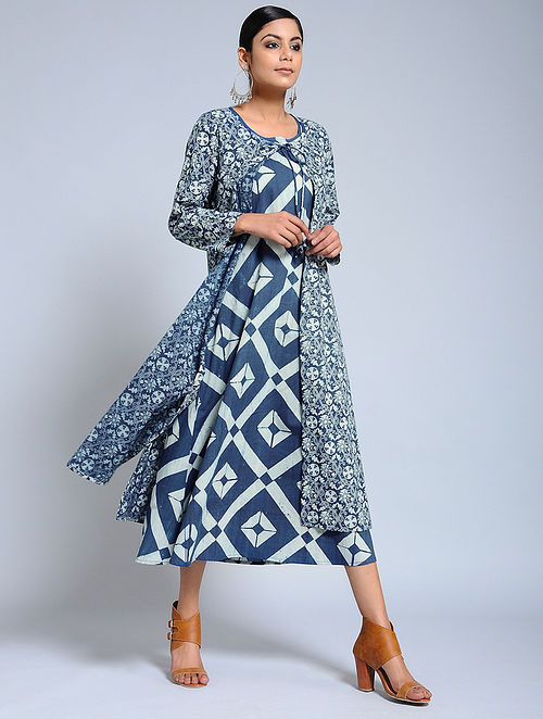693b140ea8 Buy Blue Ajrakh Printed Cotton Cape with Maxi Dress (Set of 2) Online ...