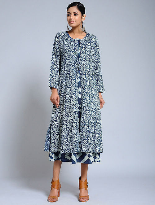 ee029d8089 Buy Blue Ajrakh Printed Cotton Cape with Maxi Dress (Set of 2 ...