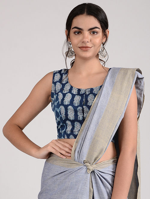 Blue-Ivory Ajrakh-printed Cotton Blouse