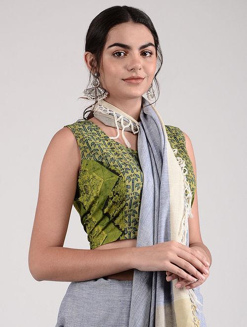 Green-Blue Ajrakh-printed Cotton Blouse