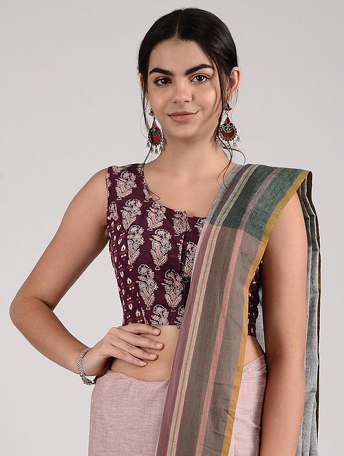 Maroon-Ivory Ajrakh-printed Cotton Blouse
