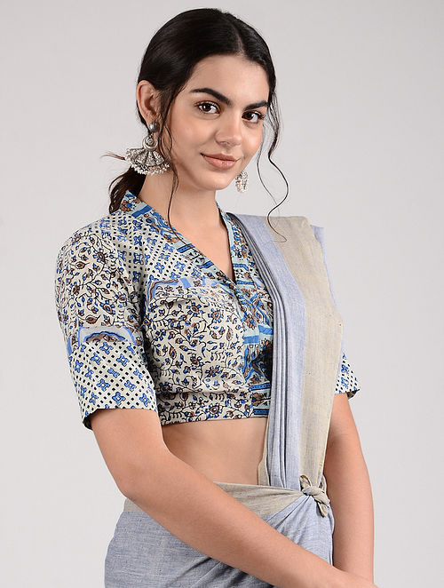 Ivory-Blue Ajrakh-printed Cotton Blouse
