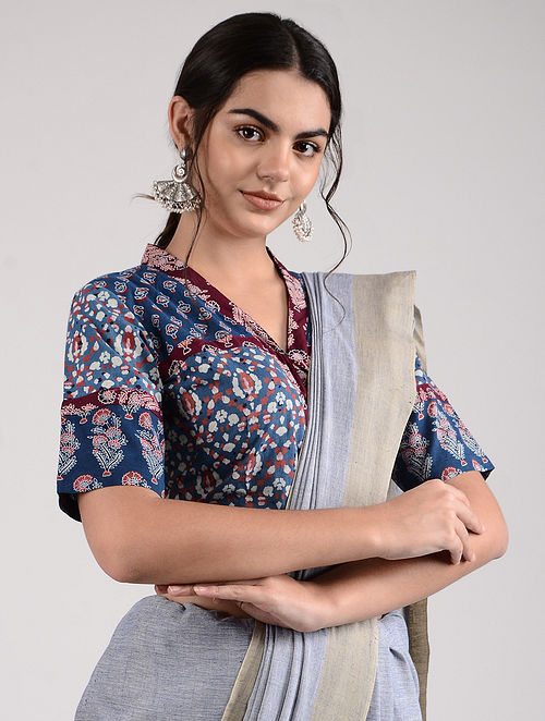 Blue-Red Ajrakh-printed Cotton Blouse