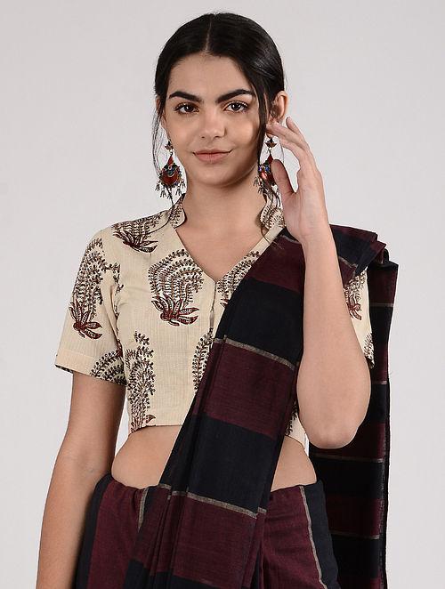 Ivory-Maroon Ajrakh-printed Cotton Blouse