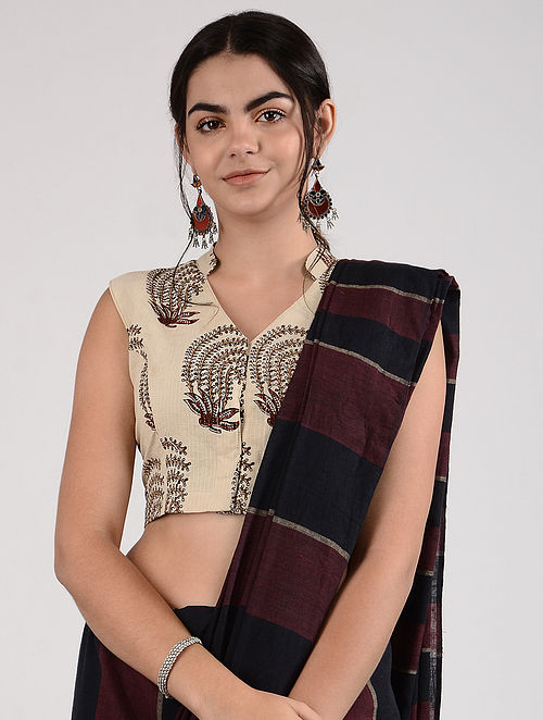 Ivory-Maroon Ajrakh-printed Cotton Blouse