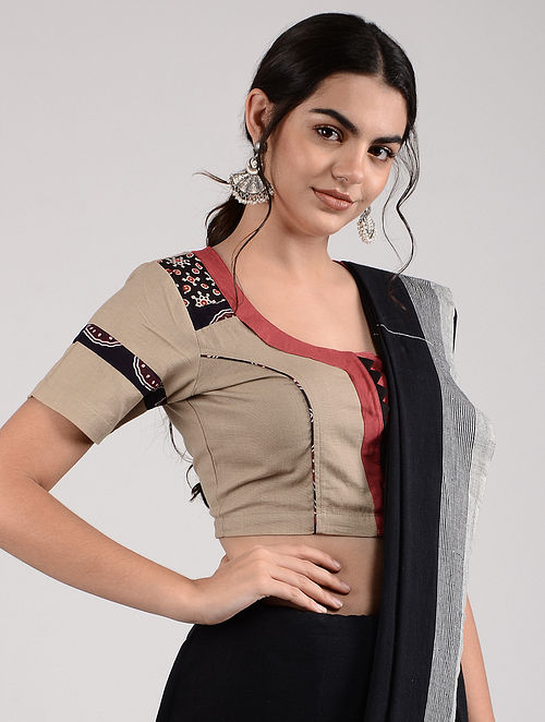 Beige-Red Ajrakh-printed Cotton Blouse