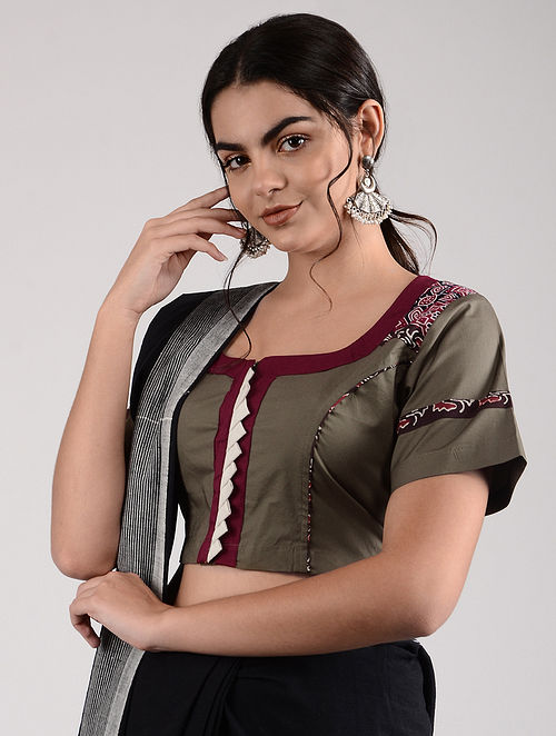 Grey-Red Ajrakh-printed Cotton Blouse