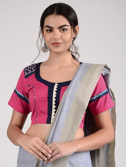Pink-Blue Ajrakh-printed Cotton Blouse