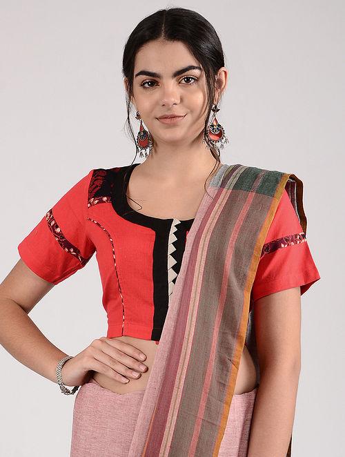 Red-Black Ajrakh-printed Cotton Blouse