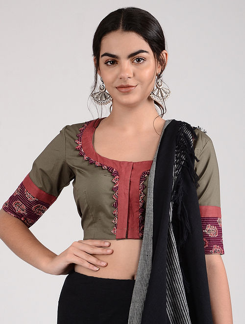 Olive-Red Ajrakh-printed Cotton Blouse