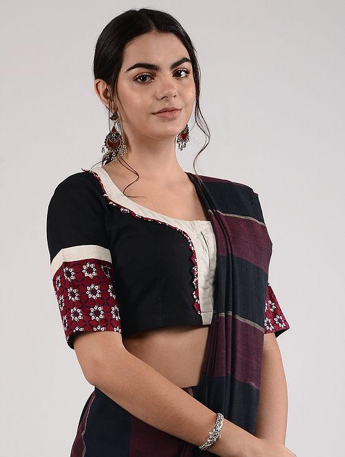 Black-Red Ajrakh-printed Cotton Blouse