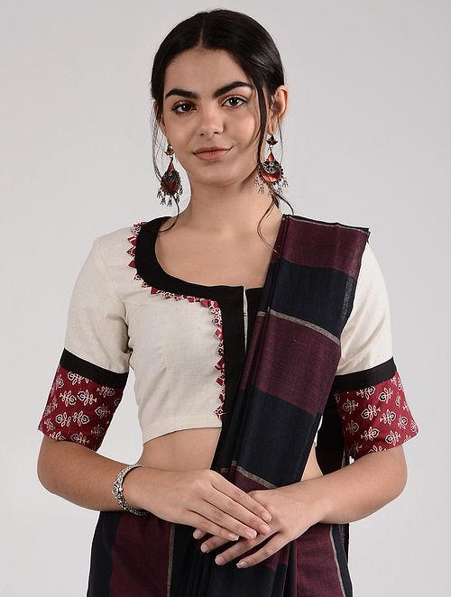 Ivory-Black Ajrakh-printed Cotton Blouse