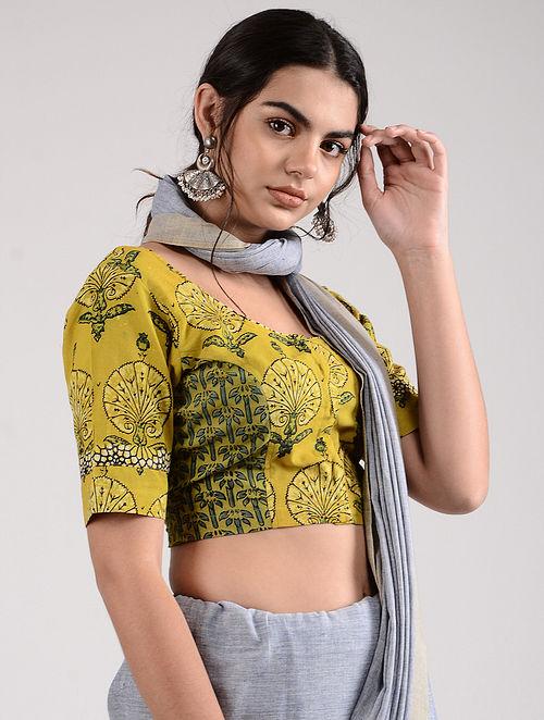 Yellow-Green Ajrakh-printed Cotton Blouse