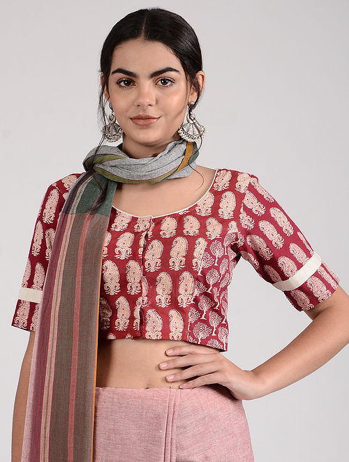 Red-Ivory Ajrakh-printed Cotton Blouse
