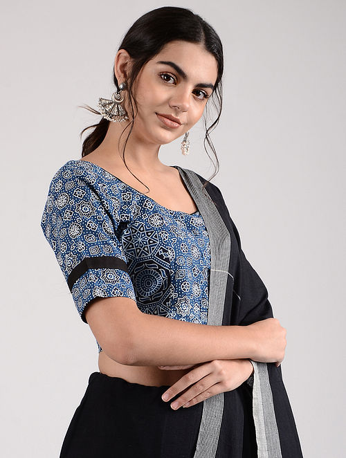 Blue-Ivory Ajrakh-printed Cotton Blouse