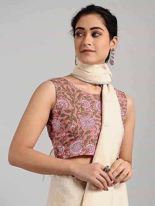 Pink-Green Block-printed Cotton Blouse