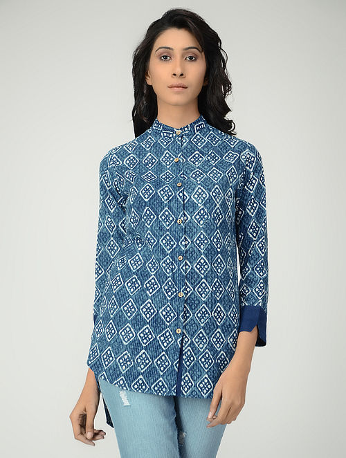 Indigo Mandarin Collar Block-printed Cotton Shirt