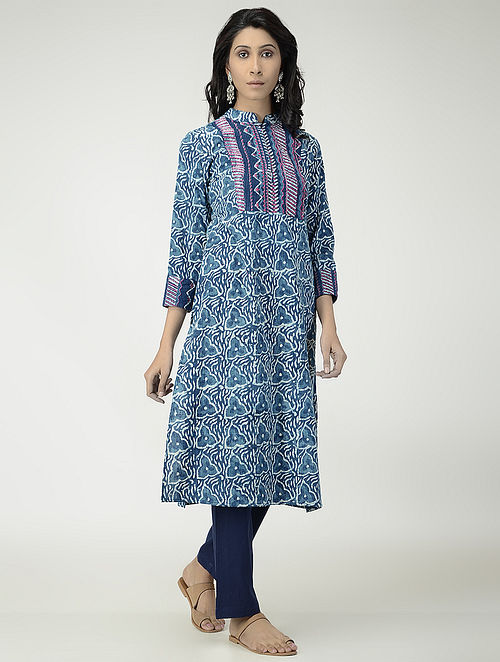 f36fbf3aa7 Buy Indigo Block-printed Cotton Kurta with Embroidery Online at ...