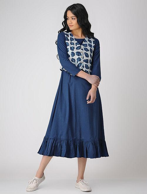 ab01aecf680 Indigo Block-printed Cotton Maxi Dress with Jacket (Set of 2) Dresses