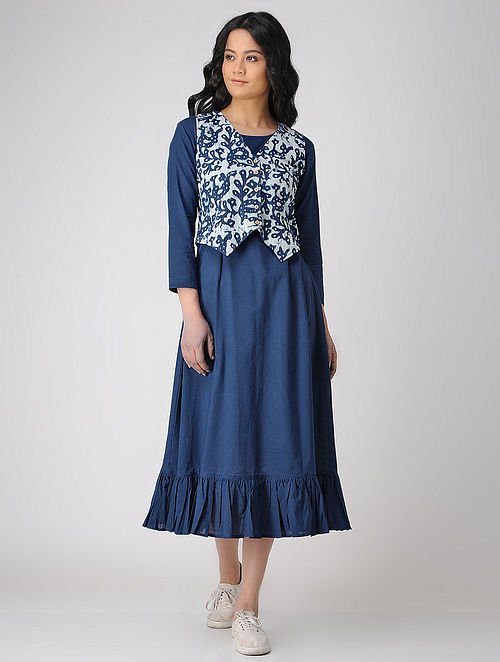 9009080b9a2 Indigo Block-printed Cotton Maxi Dress with Jacket (Set of 2) Dresses