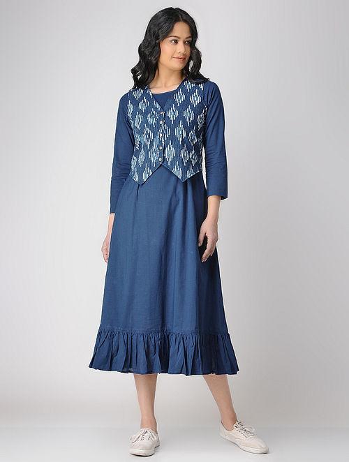 345a3ed620 Buy Indigo Block-printed Cotton Maxi Dress with Jacket (Set of 2 ...