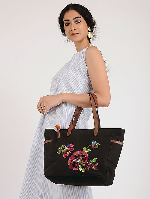 Brown Hand Embroidered Canvas Tote with Sequin Embellishments