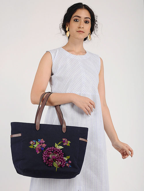 Blue Hand Embroidered Canvas Tote with Sequin Embellishments