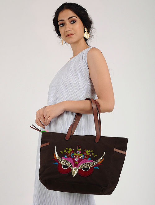Brown Hand Embroidered Canvas Handbag with Sequin Embellishments
