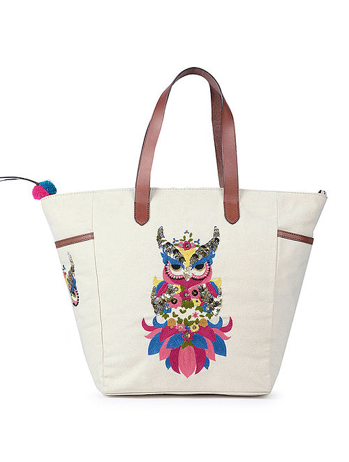 Cream Hand-Embroidered Canvas Tote with Sequins Embellishments
