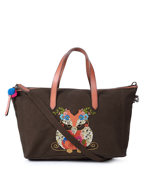 Brown Hand-Embroidered Canvas Duffle Bag with Leather Embellishments