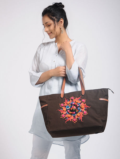 Brown Hand-Embroidered Canvas Tote with Sequin and Leather Embellishments